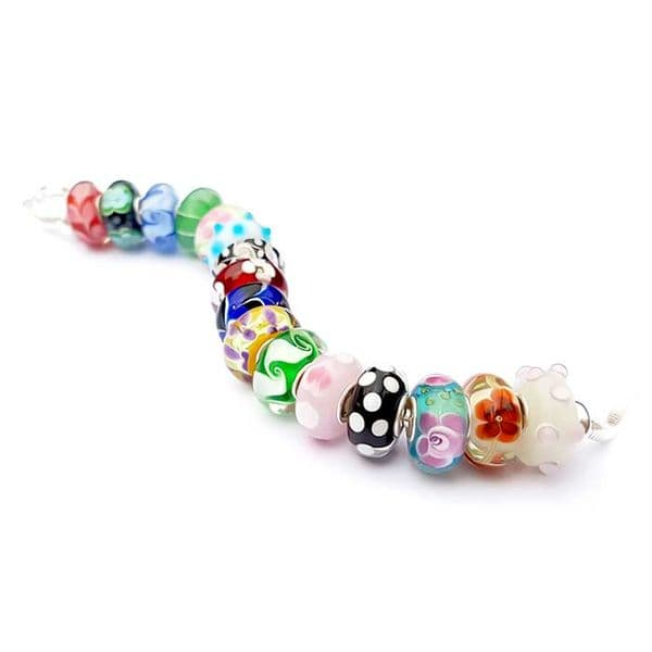 Blue Dotted Bead Charm